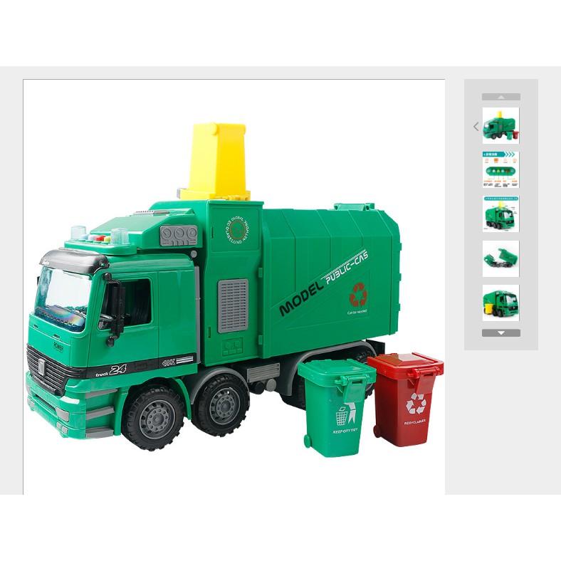 Mô hình xe chở rác đồ chơi xe chở rác xe mô trường tỉ lệ 1:10