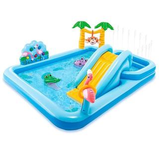 Bể bơi phao cầu trượt xanh có vòi phun mưa INTEX 57161