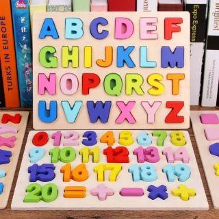 Combo bảng chữ và bảng số nổi cho bé