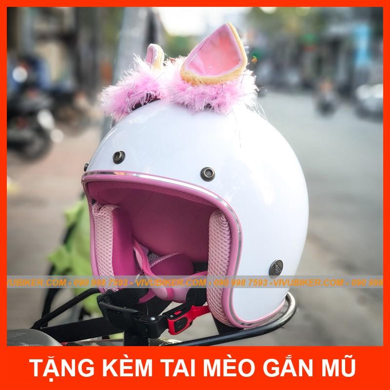 Mũ bảo hiểm 3/4 màu trắng lót hồng kèm tai mèo Thái Lan gắn nón bảo hiểm - Nón bảo hiểm tai mèo chính hãng
