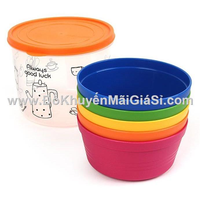 Bộ 5 chén nhựa Rainbow cao cấp Lock&Lock HPP512S5, kèm hộp đựng - Friso tặng.