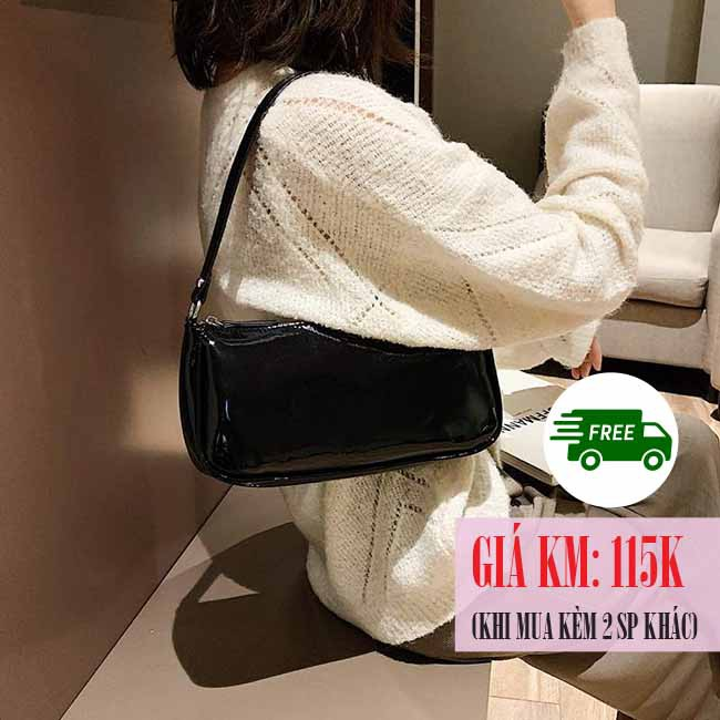 [SẴN] Túi kẹp nách nữ đen bóng Ulzzang Quảng Châu TKN6