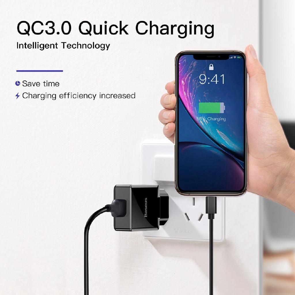 Củ sạc nhanh Baseus cổng USB 3.0 điện thoại và máy tính bảng QC3.0 cho Android iPhone