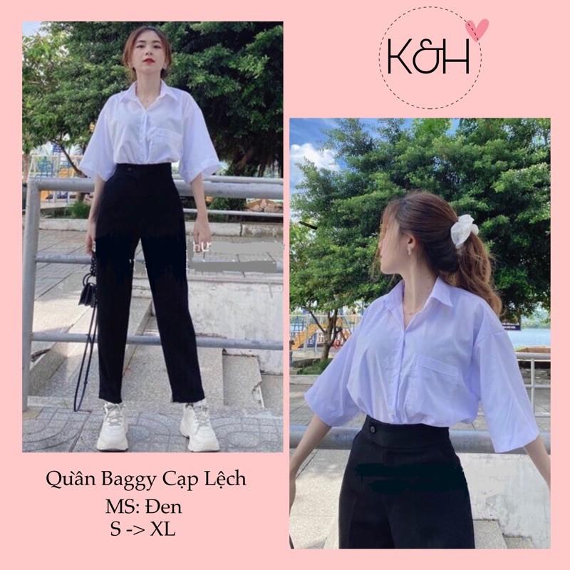 Mặc gì đẹp: Sang trọng với Quần baggy cúc lệch ống suông KH02, quần tây khuy lệch lưng cao kiểu dáng công sở màu đen cho nữ