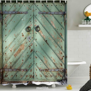 3D Print Fabric Bathroom Mildew Resistant Rustic Wood With Hooks Shower Curtain