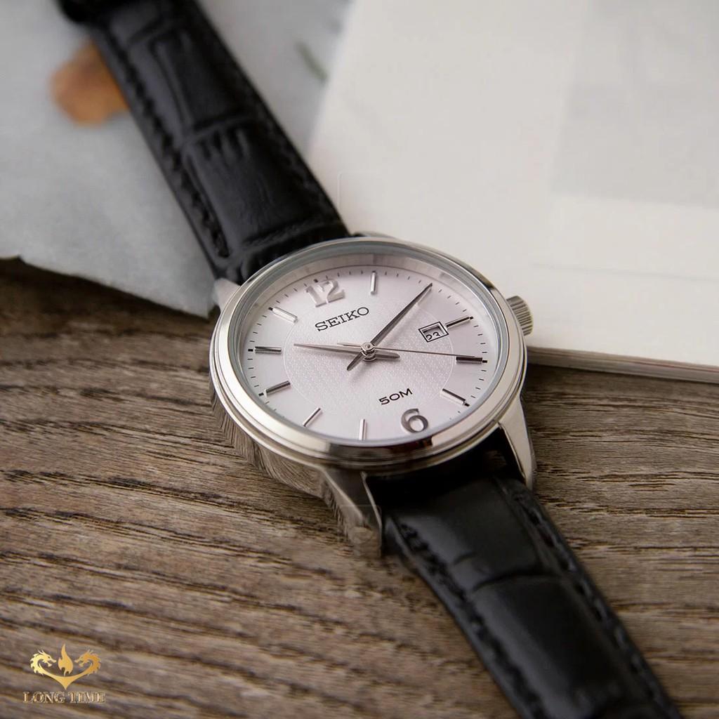 Đồng hồ Nữ chính hãng Seiko Regular SUR659P1 dây da, mặt kính Hardlex (Kính cứng) BẢ