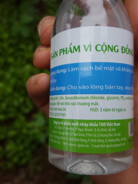 Nước rửa tay khô/Gel rửa tay khô diệt khuẩn Vgreen 100ml