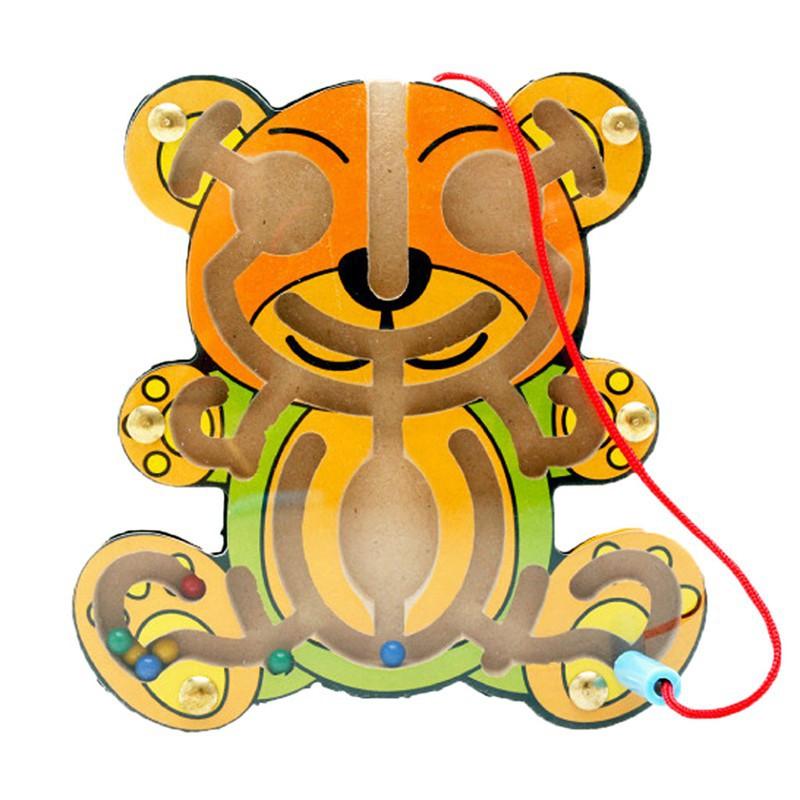 Wood Puzzle Maze Cartoon Animal Shapes Children Education Puzzle Game