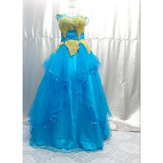 váy cưới màu xanh đính hạt hoa vàng siêu xinh, hàng new tồn kho