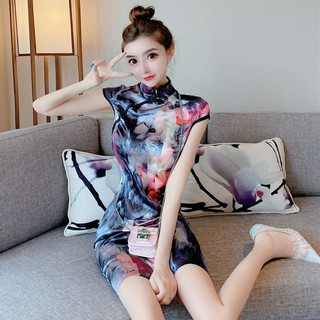 2020 summer new ladies retro print slim cheongsam sexy slim short sleeve hip dress skirt