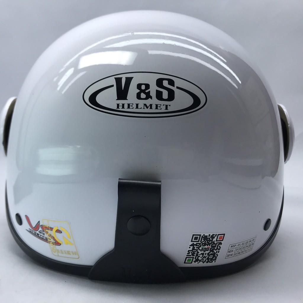 [GIÁ HỦY DIỆT] Mũ bảo hiểm nửa đầu có kính VS trắng bóng