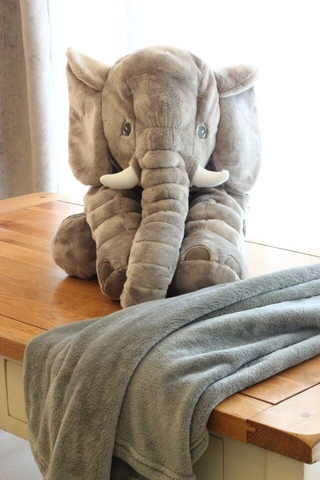 Elephant stuffed animal plush toy, soothing pillow to accompany the sleeping doll, baby sleeping doll (with blanket)