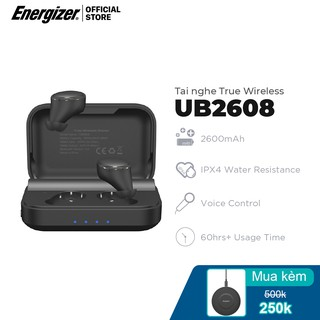 Tai nghe True Wireless Energizer UB2608, kèm hộp sạc di động, chống thấm nước IPX4