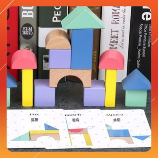 Mô hình xây dựng khối màu thông minh 15 chi tiết – Đồ chơi bằng gỗ .