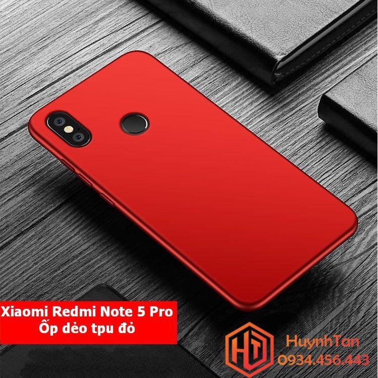 Ốp lưng Xiaomi Redmi Note 5 / Note 5 Pro dẻo đỏ phủ bóng
