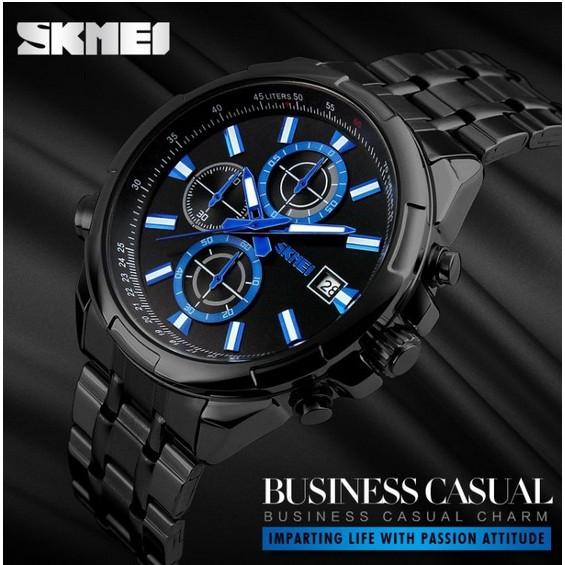 Đồng hồ nam dây thép 6 kim Skmei 9107