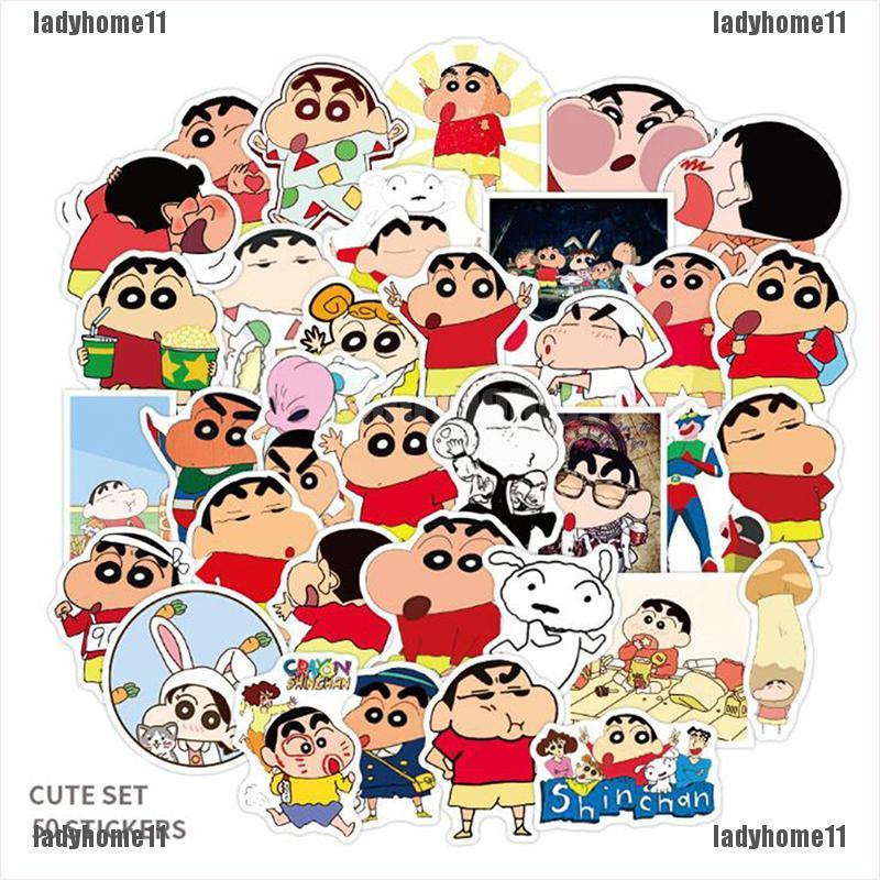 {ladyhome11}50Pcs/Set Crayon Shin-Chan Personality Graffiti Stickers Luggage Laptop Stickers