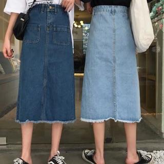 Chân váy bò dài (có ảnh thật)(có bigsize 100kg)
