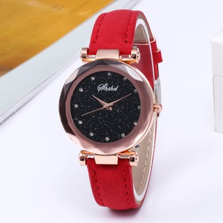 Đồng hồ nữ dây da SHSHD SH03 mặt kim tuyến lấp lánh