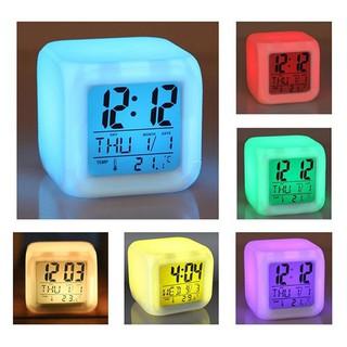 Mini Square Digital LED 7 Colours Light Effect Colourful Change Digital Alarm Clock