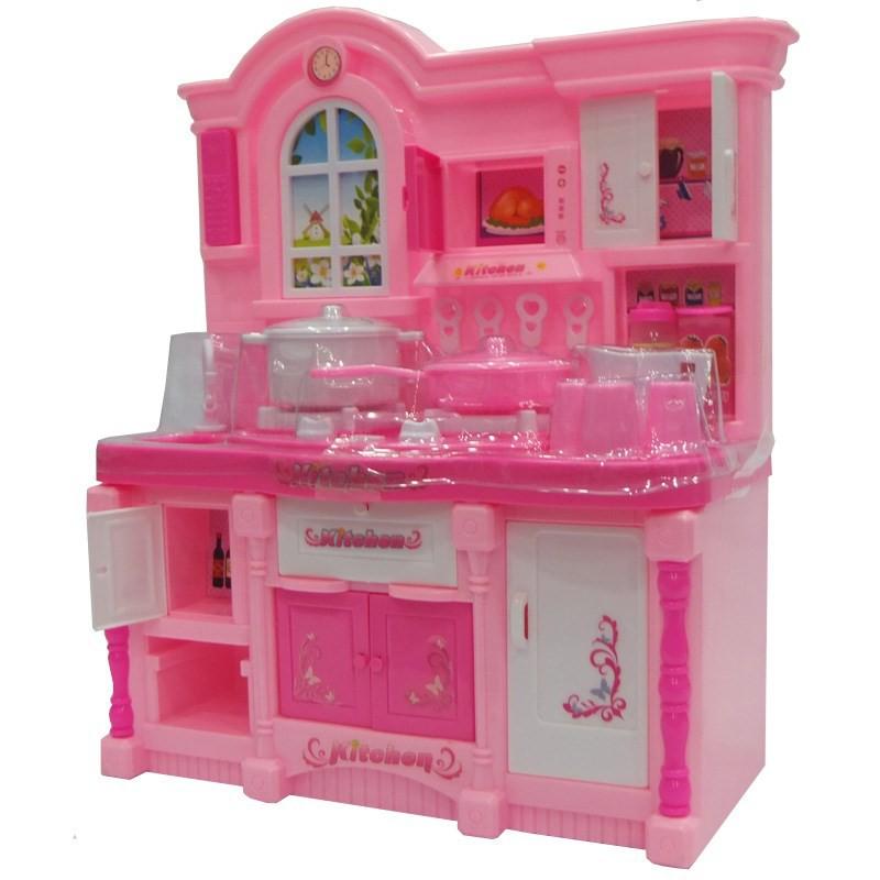 Đồ chơi nấu ăn dùng pin có đèn nhạc dành cho bé gái trên 2 tuổi, Trò chơi nhà bếp dùng pin màu hồng dành cho bé gái