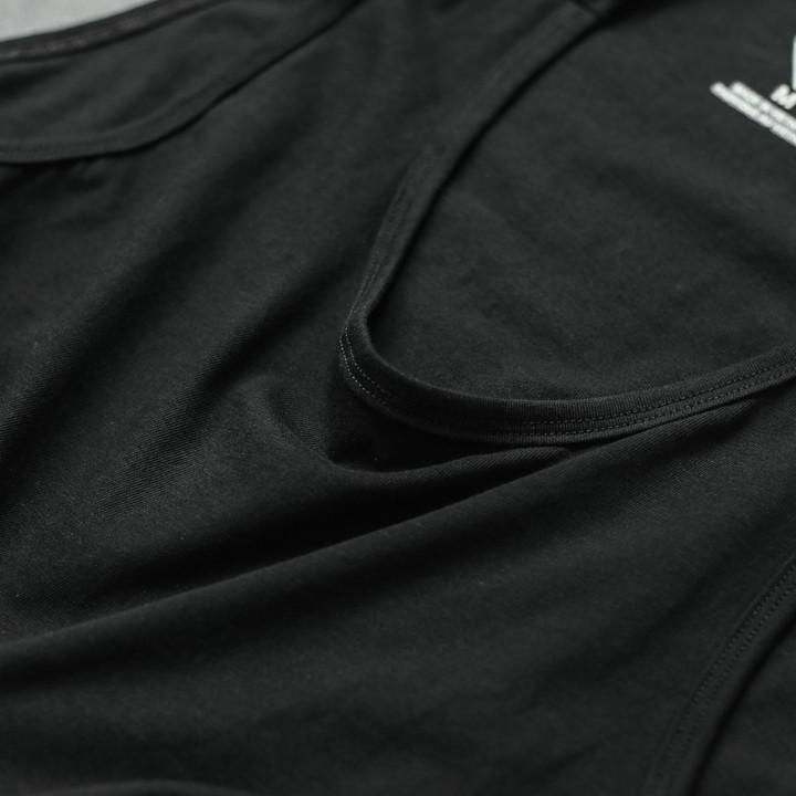 Áo thun raplan trắng tay đen (nhiều size) - áo thun cộc tay đẹp, thấm mồ hôi