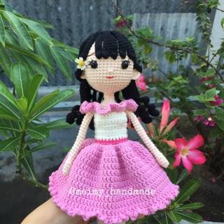 Búp bê len handmade – Búp bê váy hồng