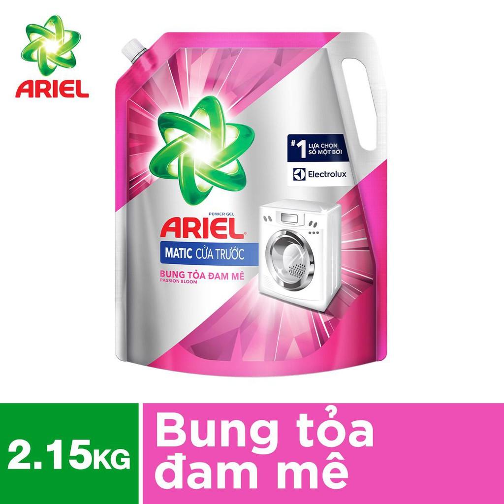 Nước giặt Ariel cho máy giặt cửa trước túi 2.15kg hương đam mê (MỚI)