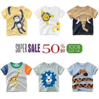 Áo thun bé trai 27KIDS, áo thun cotton cho bé trai in động vật chất cotton 100% Hàng Xuất Châu Âu