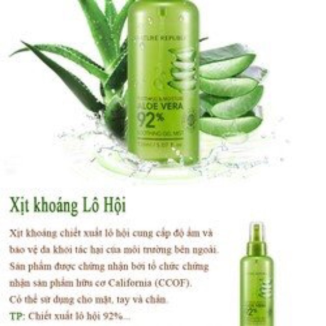 Sale 28% Xịt Khoáng Lô Hội Nature Republic Soothing & Moisture Aloe Vera 92% Soothing Gel Mist (150ml)