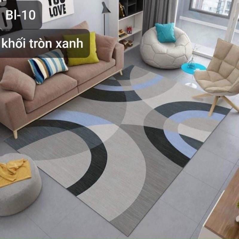 Thảm trải sàn bali 5D mẫu khối tròn xanh 1m6x2m3