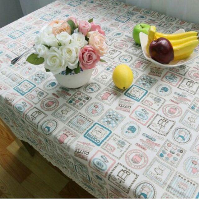 Khăn trải bàn vải bố/ canvas họa tiết ly chén cà phê