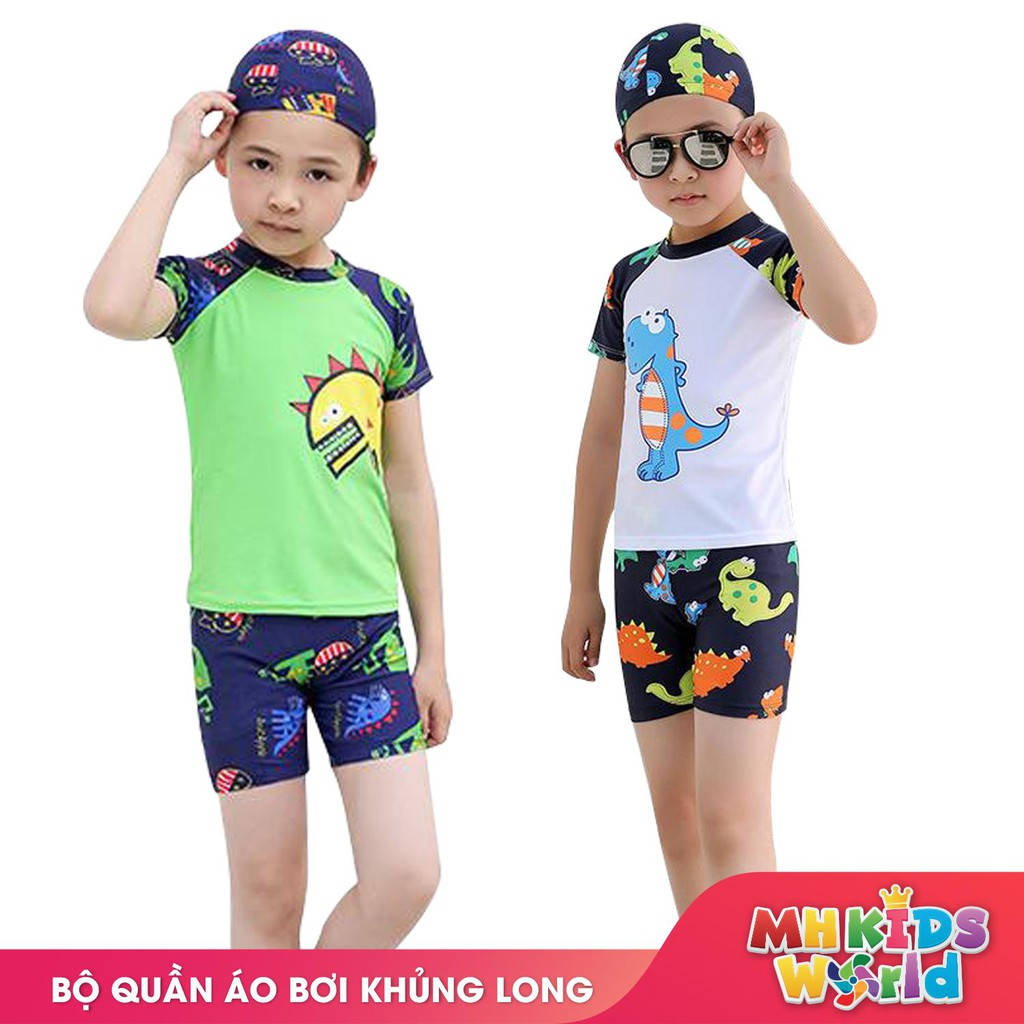 Bộ quần áo bơi ngắn tay cho bé 3-9 tuổi, đồ bơi trẻ em mẫu khủng long mới 2019