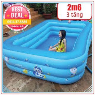 Bể Bơi Phao – Loại Siêu To – 2m60 loại 3 Tầng – 255x160x60cm