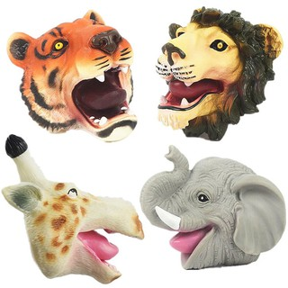 Forest Animal Gloves Tiger Lion Elephant Hand Puppet Soft Plastic Toys Props