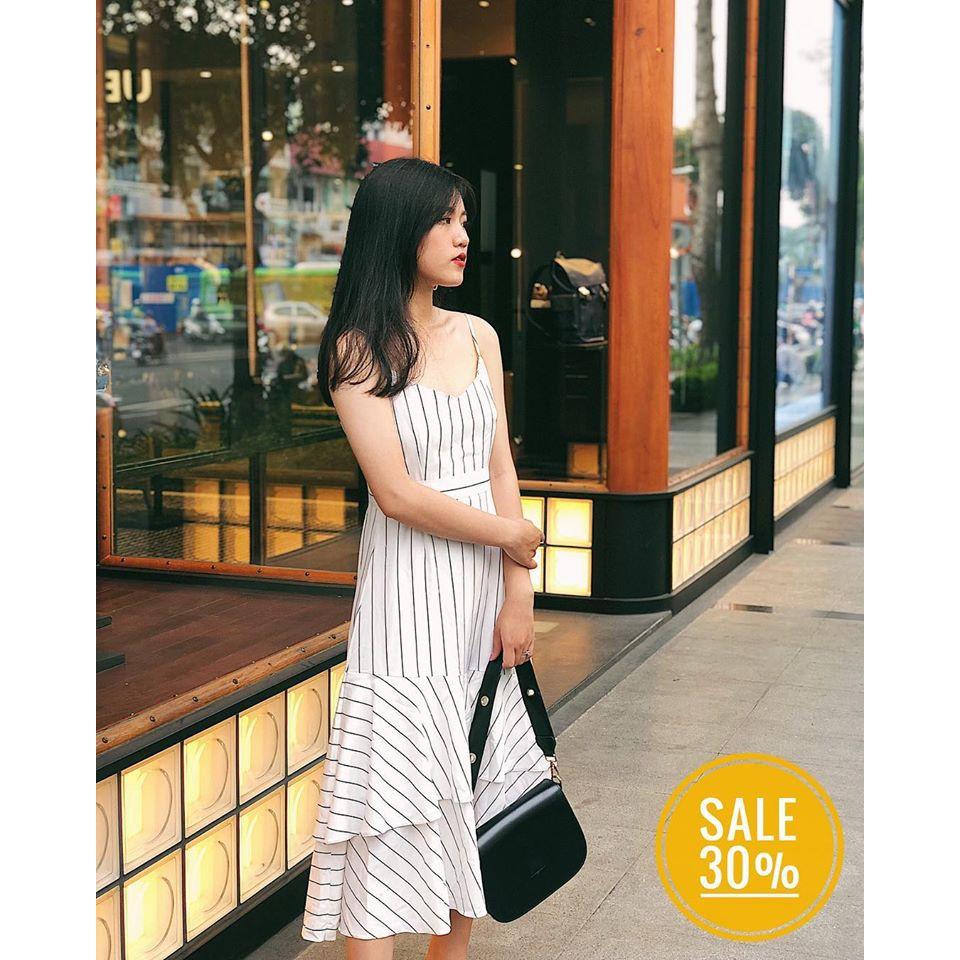 Váy 2 Dây Kẻ Sọc Đuôi Cá Sang Chảnh Cá Tính