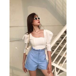 Quần shorts HEYBEE lưng cao xếp bèo, chất vải cotton màu xanh siêu xinh PERDITA SHORTS HT647 thumbnail