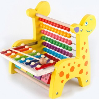 Lovely Cartoon Giraffe Wooden Hand Knock Piano Toy Early Education Musical-SPL3000