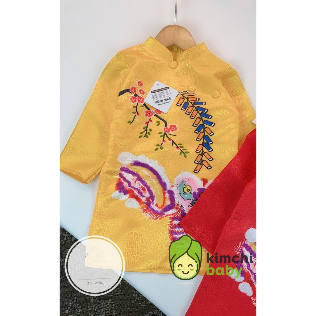Áo Dài Gấm Vẽ Lân Diện Tết Cho Bé Trai, Áo Dài Trẻ Em Cách Tân Tết 2021 Kimchibaby ADT06
