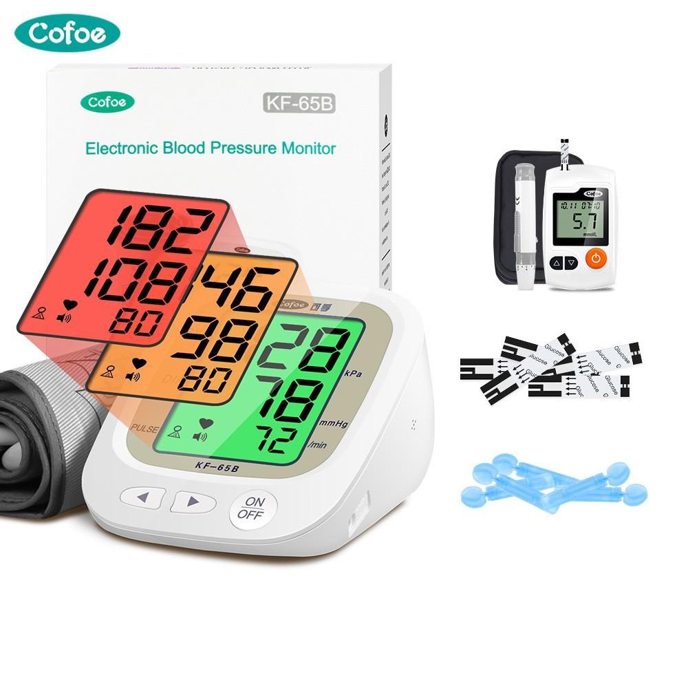 Bộ máy đo đường huyết và huyết áp điện tử Cofoe sạc USB với đèn nền 3 màu