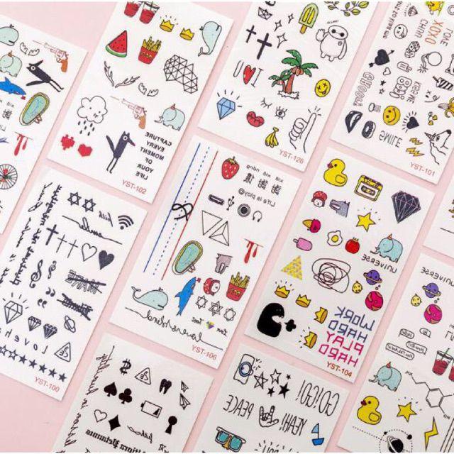 (Thanh lý) Combo 30 tấm hình xăm nước hình xăm dán tatoo mini stickers anime emoji cảm xúc cute đẹp dễ thương giá rẻ