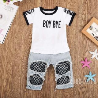 Mu♫-Kids Baby Girls T-shirt+Mesh Hole Denim Jeans Outfit Set