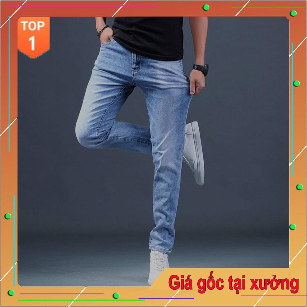 Quần jean nam co giãn VNXK vải cao cấp không phai giữ form, quần dáng côn