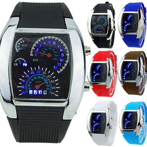 Đồng hồ nam/nữ đeo tay kỹ thuật số với mặt đồng hồ có đèn LED chiếu sáng