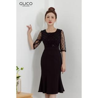 GUCO - Đầm nữ ôm body dự tiệc tay phối ren màu đen 2672 thumbnail