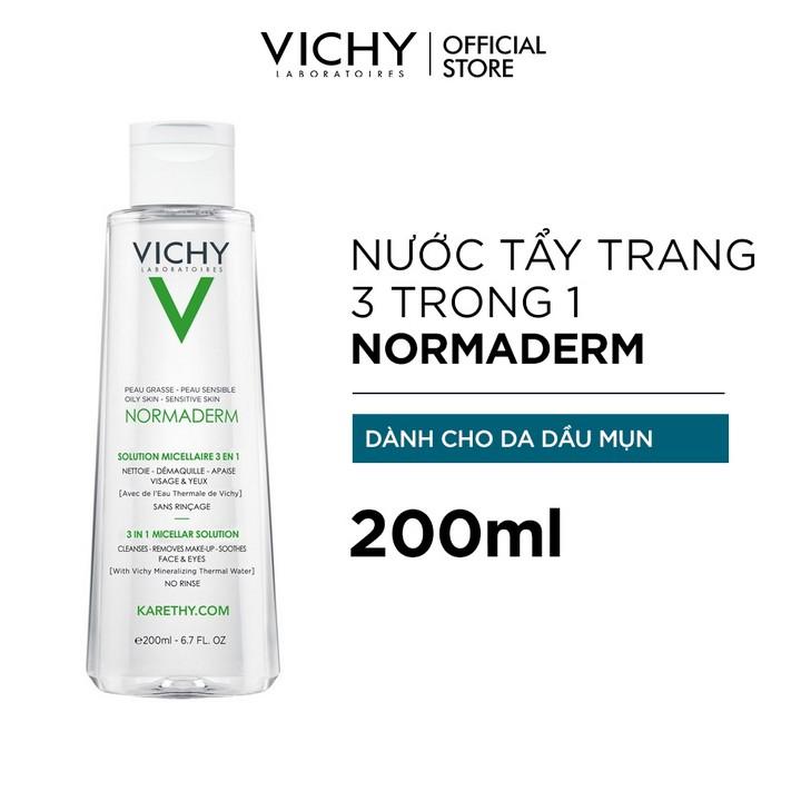 Nước tẩy trang Micellar 3 trong 1 dành cho da dầu, da mụn Vichy Normaderm 3  in 1 Micellar Solution 200ml | Shopee Việt Nam