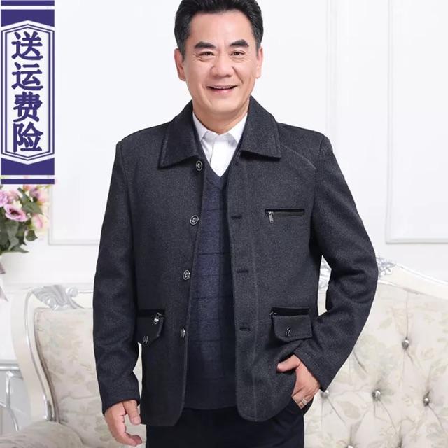 Áo khoác nam trung niên lót lông ấm