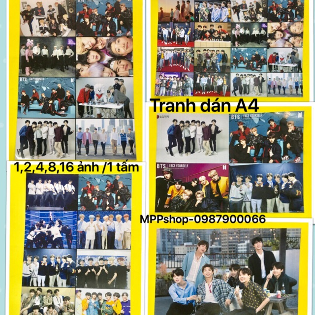 Ảnh poster BTs khổ A4 gồm 5 tấm khác nhau :1,2,4,8,16 ảnh/1A4