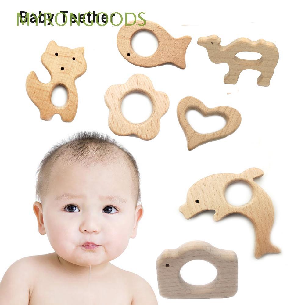 Đồ chơi gặm bằng gỗ tự nhiên in hình động vật cho bé