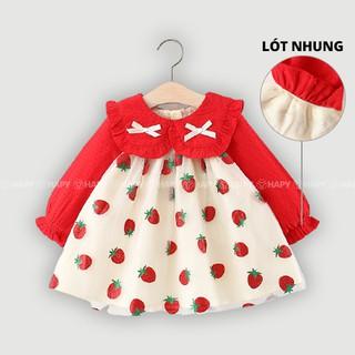 [Cao Cấp] Váy Thu Đông Cho Bé Noel Tết Họa Tiết Dâu Lót Nhung – Từ 1 2 3 4 tuổi TD308 QC